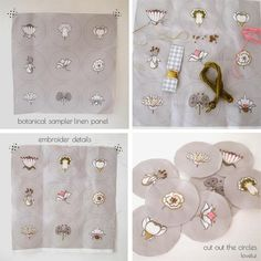 Embroider simple details onto this linen sampler which makes up 9 buttons measuring 38mm. Put your own unique touch to the de...