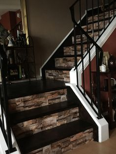 Basement half open staircase, white spindles and rising, steps stained in red oak pewter, ICI Dulux Silver Cloud paint Style At Home, Casa Magnolia, Staircase Remodel, Design Case, Basement Remodeling, Home Renovation, My Dream Home, Home Projects, Future House