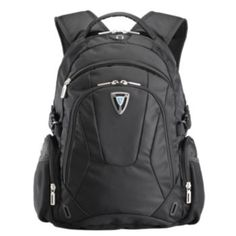 """Travelwell Polyester Mesh Tablet 15/"""" Laptop Backpack with Earphone Outlet Black"""