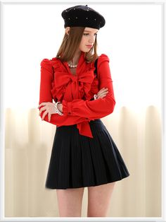 Morpheus Boutique  - Red Bow Floral Ruffle Long Sleeve Celebrity Shirt