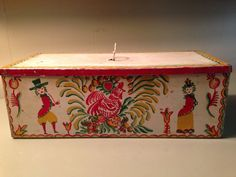 Vintage Folk Art Hand Painted Rooster Metal Box - OLD Peter Hunt Style Primitive