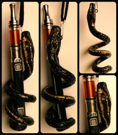 Handcrafted polymer clay black and metallic gold snake with black rhinestone eyes e-cig holder fits 19mm mods and smaller.
