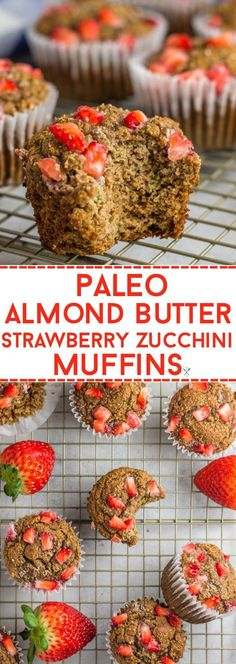 Paleo almond butter strawberry zucchini muffins