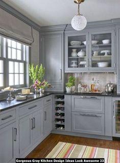 Black Kitchen Countertops, Kitchen Cabinets Decor, Kitchen Cabinet Colors, Grey Cabinets, Cabinet Decor, Painting Kitchen Cabinets, Cabinet Ideas, Cabinet Makeover, Grey Painted Kitchen Cabinets