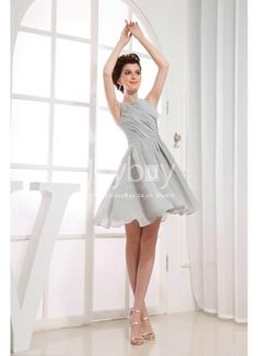 Ruched A Line Mini Grey Summer Bridesmaid Dresses