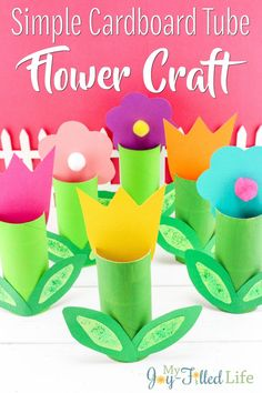 Simple Cardboard Tube Flower Craft - My Joy-Filled Life Easy Arts And Crafts, Crafts For Kids To Make, Arts And Crafts Projects, Arts And Crafts Supplies, Fun Crafts, Paper Crafts, Paper Art, Spring Activities, Fun Activities For Kids