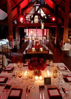 Crimson red event design, Autumn color wedding table tops, vintage winery reception