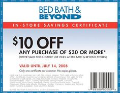 The Bed Bath & Beyond ad is usually released one-time per month. Customers  can get the ad via mail if you are signed up for their mailing list or you  can ...