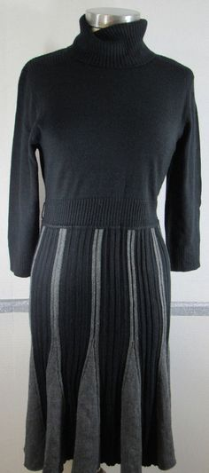 London Times Sweater Dress Large Black Gray Turtleneck 3/4 sleeve pleated skirt  #LondonTimes #SweaterDress #Casual