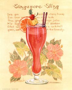 Singapore Sling recipe for your weekend cocktail, and Mermaids at the Wreck Bar in Fort Lauderdale tonight at Cocktails For Two, Famous Cocktails, Gin, Singapore Sling Cocktail, Experiment, Beijing Food, Galerie Creation, Cherry Brandy, Easter Table Decorations