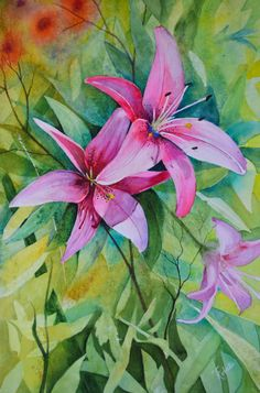 Three Lilies is a beautiful original watercolor.  This painting features two large pink lilies with a soft blue green background. by TerriRobertsonArt on Etsy