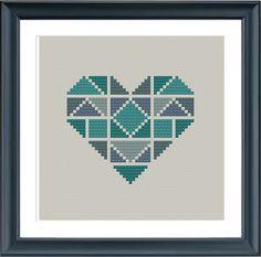 punto de Cruz moderno geométrico patrón corazón por Happinesst