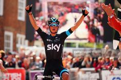 Pete Kennaugh of Team SKY celebrates winning the 2015 British National Championship road race on June 28, 2015 in Lincoln, England.