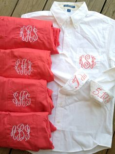 Bridal Party Set of 5 Monogram Button Down by ChickadeesDesigns0, $176.00