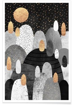 Little Land Of Pebbles By Night als Premium Poster von Elisabeth Fredriksson | JUNIQE