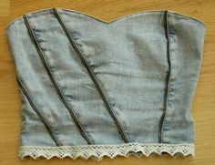 DIY denim bustier-I'd do it without the seams across the front... Only at the sides