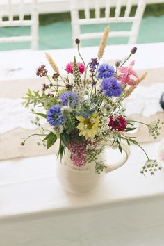 August blooms including Cornflower, wheat and Clary Sage.