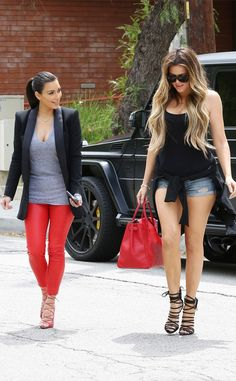 Kim and Khloé Kardashian color coordinate in these fab looks!