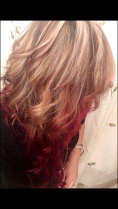 ombre hair..blonde to velvet red w/ low & highlights..@Elaina Kathryn Kathryn Kathryn Reihl