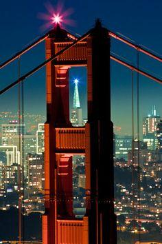 San Francisco skyline framed by the Golden Gate Bridge...