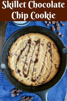 Skillet Chocolate Chip Cookie is a fun dessert treat. Warm, delicious, and full of chocolate chips & chunks, it's comfort in every bite. This is a small batch that's perfect for 2-4 people. Even better, you can make it on the grill! #chocolatechipcookie #skilletcookie #dessert #dessertonthegrill #onthegrill Easy Cookie Recipes, Best Dessert Recipes, Easy Desserts, Baking Recipes, Delicious Desserts, Bar Recipes, Chocolate Chip Cookies, Skillet Chocolate Chip Cookie, Chocolate Chips