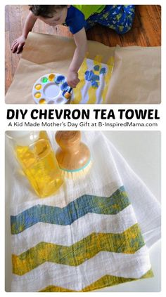 Kid Painted Chevron Tea Towel Mother's Day Craft [Sponsored by at B-Inspired Mama Baby Crafts, Crafts To Do, Kids Crafts, Toddler Crafts, Preschool Crafts, Painting For Kids, Art For Kids, Homemade Gifts, Diy Gifts