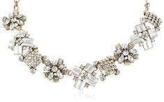 """Amazon.com: Vintage Style Mixed Shape Crystal Frontal Necklace, 19"""": Jewelry"""