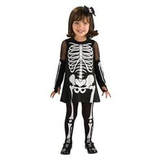 Skeleton With Dress Costume - Toddler