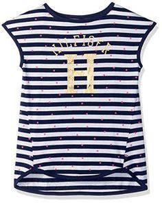 Tommy Hilfiger Big Girls Signature Stripe Short Sleeve Top Flag Blue L      Continue afa7802a181d