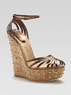ae497ed88da Gucci - Cecyl Metallic Leather Wedges Fancy Shoes