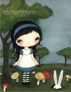 Alice In Wonderland Print Rabbit Art Fairy Tale Children Wall Art---(Down The Rabbit Hole)