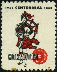 """~Stamp No. 161: United States~ Another non-postal """"poster"""" stamp. This is the only item in the entire collection originating in the United States. Monmouth College has a Scottish heritage and in the 1940s that occasioned the beginnings of a pipe band, which is active today. This tiny stamp was found by our friend and fellow bagpipe-stamp collector Sean Stewart of England. Acquiring two copies was a very long and frustrating process."""