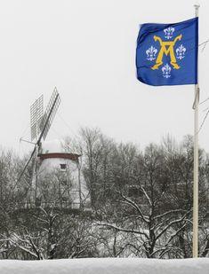 Kylmä talvipäivä Turussa 28.1.2019. Samppalinnan tuulimylly ja kaupunkimme vaakunalippu -7 asteen tuulessa.
