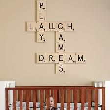 """Giant scrabble tiles spelling out """"kid"""" words.  Maybe for the playroom space?"""