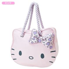 Hello Kitty Face Shaped Rope Handle Strap Tote Bag Handbag Pink SANRIO JAPAN