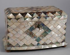 ANTIQUE MOTHER OF PEARL TEA CADDY // A mother-of-pearl two compartment tea caddy with adalone banding and inlay of rectangular form with bow front, the interior ivory banded and partitioned with two mother-of-pearl covers, all on bun feet. - // Price: £3250 //  - Maria Elena Garcia -  ► www.pinterest.com/megardel/ ◀︎