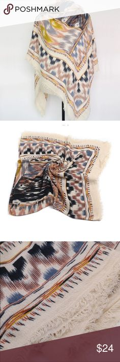 Ethnic Tribal Print Blanket Scarf Ethnic Tribal Print Square Blanket Scarf with frayed edges. Measurements are 140 cm square. Oversized. Acrylic. Price is firm unless bundled. Boutique Accessories Scarves & Wraps