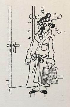 Studios Hergé - Dessin original à l'encre de chine - Professeur Tournesol (1976) - W.B.