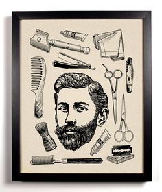 His, Vintage Bearded Man and toiletries Art Print 8 x 10 Buy 2 Get 1 FREE scissors brush razor hair by StayGoldMedia on Etsy https://www.etsy.com/listing/127308008/his-vintage-bearded-man-and-toiletries