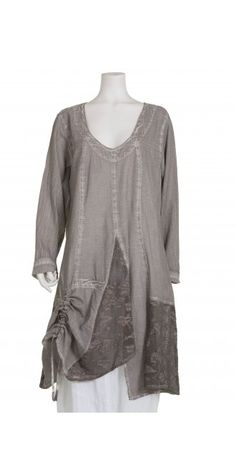 Kekoo Washed Grey Cotton Tunic - Kekoo from idaretobe.com UK