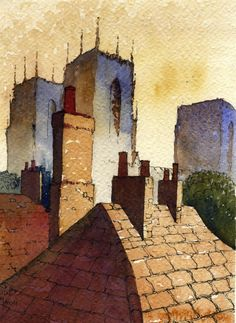 Ian Scott Massie Prints - The Gallery, Masham Watercolor Architecture, Watercolor Landscape, Landscape Art, Watercolor Paintings, Watercolours, Building Painting, Building Art, Art Pictures, Art Images