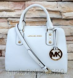 MICHAEL Michael Kors Small Saffiano Optic White Satchel Purse Bag NWT 35S3GSAS1L #MichaelKors