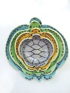 Sea Turtle Plate Set by elizabethpottery on Etsy, $140.00 I thought I NEEDED these but at 140.00 I will just admire them.