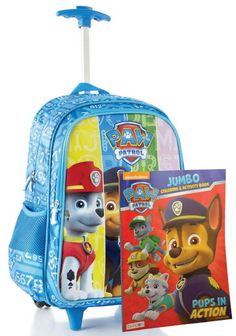 "Paw Patrol Girls' Rolling Large Backpack w/ Handle & Bonus Coloring Book. Paw Patrol Back to School Set of Deluxe Large Rolling Backpack and Bonus Paw Patrol Coloring Book. Perfect for school and vacations! Paw Patrol characters that your child will love having with them. The perfect set all year round!. Backpack features one Main Compartment, One Front roomy zippered closure pockets, two side net pocket. Product dimensions including the wheels: 18"" x 13"" x 7.5"". Product dimensions…"