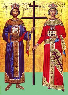 EmperorSaints Constantine and Helen with the Life-Giving Cross of Christ