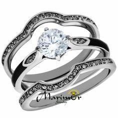 Stainless Steel 1.1 Ct Round Cut Zirconia 3Pc Wedding Ring Set Women's Size 5-10