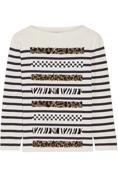 Marc Jacobs - Embellished Striped Cotton And Cashmere-blend Sweater - Cream -