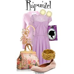 Rapunzel: Disney's Tangled by inknpaint on Polyvore featuring moda, Coast, Allude, Lanvin, Tory Burch, Disney, Aurélie Bidermann, Alexander McQueen, House of Harlow 1960 and disney
