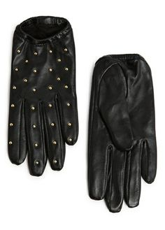 MANGO - STUDDED SHORT LEATHER GLOVES #FW13 #Leather #Gloves