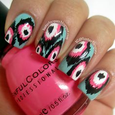 Ikat Print Nails by LusterLacquer